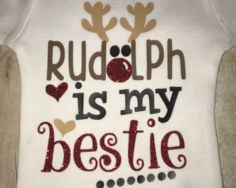 Girls Christmas Shirt - Boys Chritsmas Shirt - Rudolph is my Bestie - Sparkle Shirt - Reindeer Shirt - Glitter - Bodysuit