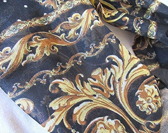 Vintage scarf Black and gold baroque sheer scarf hippie scarf boho scarf Victorian style flower and leaf design vintage 90s.