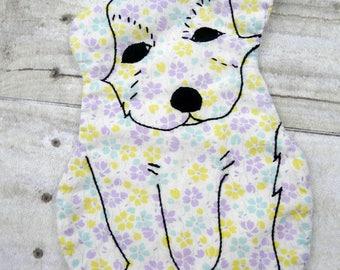 Vintage Puppy Dog pot holder -  flour sack animal kitchen decor embroidery flowers