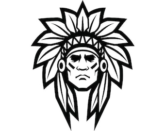 American Indian #5 Native Warrior Headdress Feather Tribe Chief Aztec Mascot Tattoo Logo .SVG .EPS .PNG Clipart Vector Cricut Cut Cutting