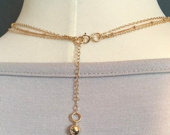 Gold Layer Necklaces Set •Meteor Necklace •Gold Set - Anniversary Gift -Gift For Her /Curved Bar Gold -Dew Drops Chain/14K Gold Fill LP3SET_