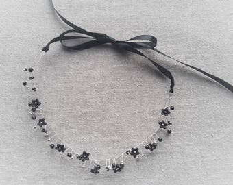 Crown black flower ceremony headband Headband black headband black hair black hair black hair wedding bridesmaid