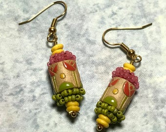 Spring Bead Earrings Flower Bead  Earrings Floral Bead Earrings Stacked Earrings Seed Bead Earrings Beadwork Earrings Floral Earrings