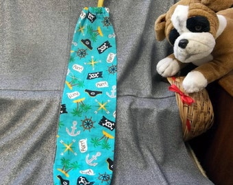 Plastic Bag Holder Sock, Pirates on Turquoise Print