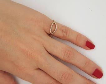 Art nouveau ring-Diamond  Ring- Diamond Oval Ring-14k rose gold ring- Fashion jewelry- Gold Statement Ring-Minimalist ring-Micro pave band