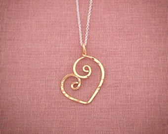 Gold Heart Necklace 14k Gold-Filled Sweetheart Love