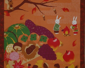 Furoshiki 'Rabbits and Squirrel at Harvest Time' Cotton Japanese Fabric 50cm w/Free Insured Shipping