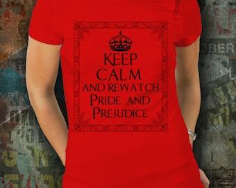 Pride and Prejudice Jane Austen Tshirt, Literary Shirt, Austen Clothing, Austin, Jane Austen Gift, Literary Tshirt, Jane Austen Fan, Red