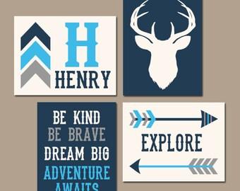 Deer Wall Art, Tribal Woodland Quote, BABY Boy Nursery Decor, Arrows, Dream Big, Be Kind, Explore, Adventure, Set of 4 Canvas or Print