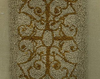 Scroll Rug - Miniature Punch Needle Embroidery Doll House Rug PATTERN
