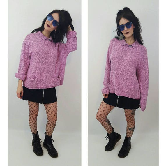 SALE 80's Vintage Pink Sweater XL Plus - Vtg Baby Pink Collared Woven Knit Top - 1980s Cropped Boxy Knitted Sweater with Pockets and Collar