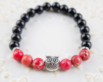 Silver Owl bracelet Gloss marbles with Blood red stones one of a kind