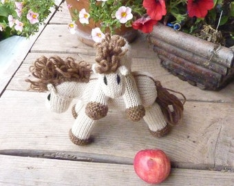 Cinnamon: Mini Pony Girl's Stuffed Animal Knitted Horse Filly Colt Natural Waldorf Toy