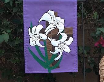 Easter hostess gift etsy easter garden flag handmade appliqued rugged cross three lilies good friday easter sunday christian host negle Images