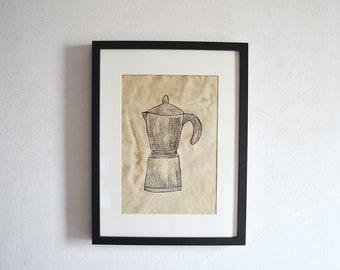 Vintage Moka Pot Print Glide // Coffee Pot Patern on Vintage Paper // A4 Vintage Picture