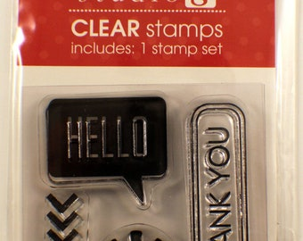 Thank you and Hello Studio G Clear Cling Rubber Stamp Set