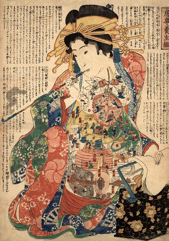 Japanese Art, Japanese Geishas Art Prints, Geisha With A Smoking Pipe FINE  ART PRINT, Japanese Wall Paintings, Wall Art Posters, Home Decor