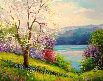 Blooming Apple tree on the river Bank   Apple tree art, landscape painting, textured art,nature painting,impressionism,bright,river,
