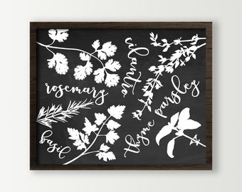 Cooking Herbs Decor - Kitchen Wall Art Print - Black and white or Choose Color - Chalkboard Look - Basil, Cilantro, Rosemary, Parsley, Thyme