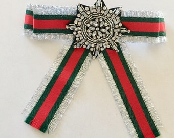 Silver, Green and Red - Gucci Inspired Bowtie