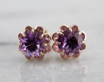 Purple Rose, The Grace Earrings with Amethyst Gemstones by Elizabeth Henry TLD88A-P