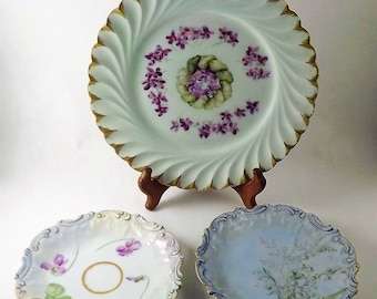 French Flower Plates, Hand Painted Limoges Coiffe Haviland H & C Co Plates, Antique Victorian Dish, Ornate Gold band Plates, Made in France