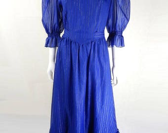 Original 1970s Vintage Blue Ruffle Maxi Dress UK Size 12