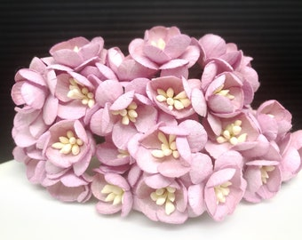 50 pcs. sweet lilac Cherry Blossoms flowers mulberry paper for Crafts 2.5 cm. #188