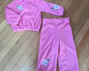 RESERVED! Do Not Buy! Vintage 1970s Toddler Girls Pink Velour Flower Outfit! Size 2