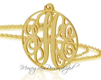 Gold Circle Monogram necklace - 1 inch Personalized Monogram - 18k Gold Plated