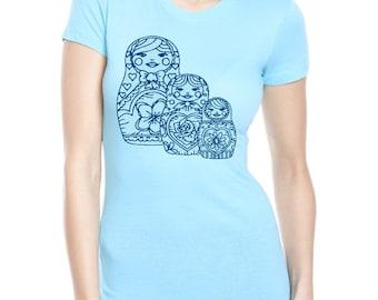 Nesting Dolls Tshirt Womens Screen Printed Russian Stacking Doll Shirts Cute Ladies Clothing Spring Shirts
