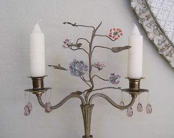 French Candle Holder Brass with Porcelain Flowers Roses Repurposed French Lamp Two Arm