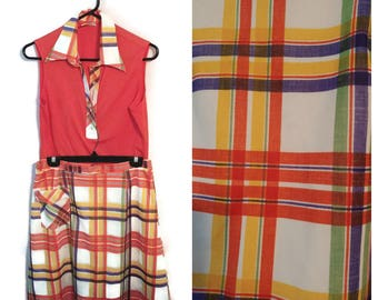 Pawtucket Sportswear outfit size M/L skort skirt top shirt plaid red cute 1960s