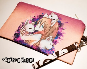 Felininity - Clutch bag Purse Wristlet - Zippered Pouch - Cosmetic pencil school - Bianca Loran Art