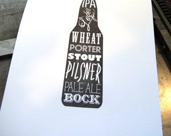 Man Cave Art, Wall art, Wall decor, Gift for groomsmen, Beer Lover Gift, Beer Lover Letterpress Print, JJD-LP-BP1