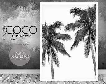 Palm tree print, tropical decor, palm tree art, hawaii, wall art print, palm art print, palm springs, downloadable, black and white decor