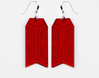 Earrings red plexiglas • Såja