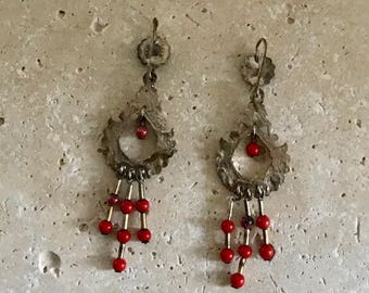 Antique Silverplate Pendant Earrings/ Long/ Glass Beads/ Floral/ Pierced Ears/ Victorian French Jewelry