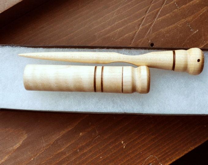 Maple wood mini stitch lay helper tool plus needle case set