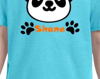 cute panda shirt for boys, panda with paws, name personalized shirt
