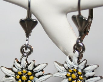 Earrings with hand painted edelweiss