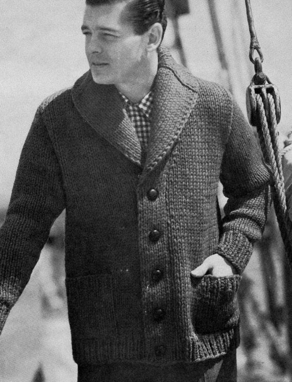 Pattern 1950s Mens Cardigan Button Down Bulky Sweater Shawl Collar