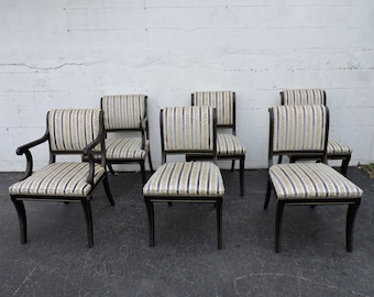 Dining Chairs Set of Six Painted Black with Gold Highlights 7983
