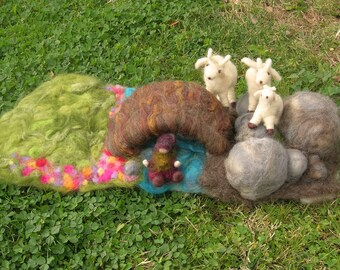Made to Order - Three Billy Goats Gruff - Waldorf-Inspired Needle Felted wool playscape