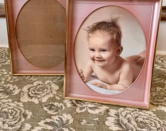 Brass Frames Gold Picture Frames Oval Frame Pink Frame for Baby Girl Frame Wedding Frame Vintage Pink Decor Brass Picture Frame Photo Frame