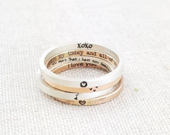 Ring - Personalized Ring - Wife Gift -  Girlfriend Gift - Dainty Jewelry - Rose Gold Ring -  Stacking Ring - Rings - Mixed Metal