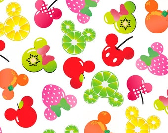 Disney Mickey & Minnie Fruits 100% Cotton Fabric by the yard, A296