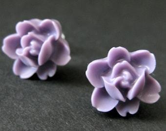 Lavender Flower Earrings. Purple Lotus Rose Earrings. Post Earrings. Purple Earrings. Silver Stud Earrings. Flower Jewelry. Handmade Jewelry