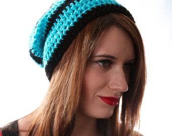 Blue Striped Hat Black and Blue Beanie Thick Striped Hat Striped Hipster Beanie Light Blue Beanie