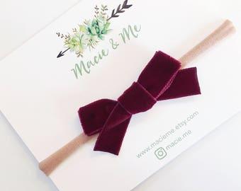 Burgundy Velvet Bow / The Ember Bow